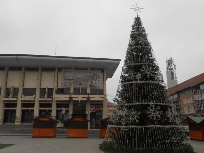 Ornamentele din bradul din centrul Sucevei, aprinse pe 28 noiembrie, de Ziua Bucovinei