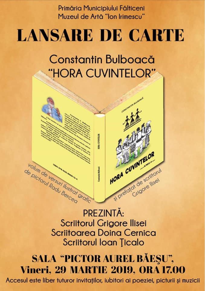 """Constantin Bulboacă lansează """"Hora cuvintelor"""" la Fălticeni"""