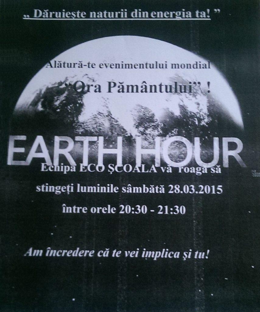 Ora Pământului sărbătorită de elevii Colegiului Vasile Lovinescu