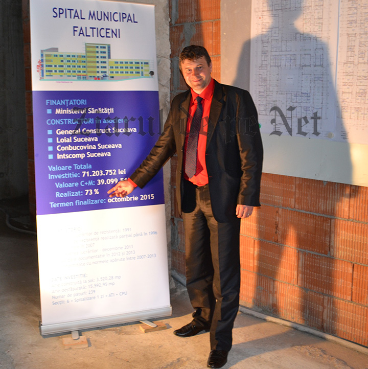 Primarul Cătălin COMAN îi prezintă ministrului Nicolae BĂNICIOIU, pe 16 mai 2014, termenul de finalizare a noului Spital municipal Fălticeni: octombrie 2015. Iar strada Sucevei este asfaltată..