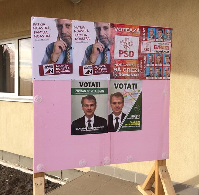 Alianța Noastră România, interzisă la Fântâna Mare: afișele electorale ale formațiunii lui Marian Munteanu au fost îndepărtate de pe toate panourile din comună