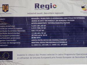 Muzeul Irimescu tabela proiect UE