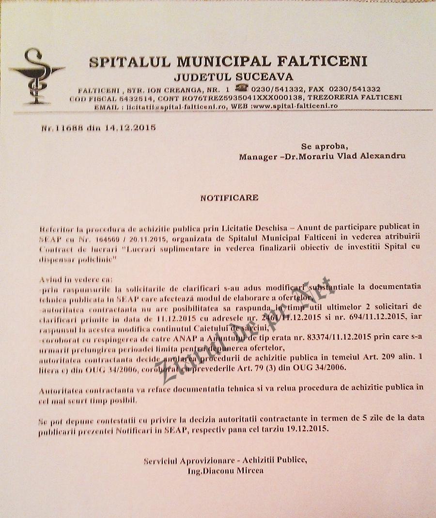 anulare licitatie Spital Falticeni
