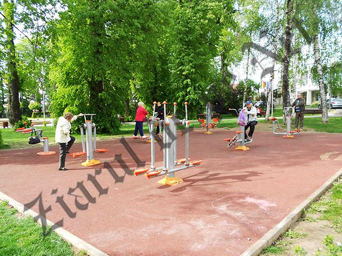 Studenții de la USV fac practică la aparatele de fitness în aer liber