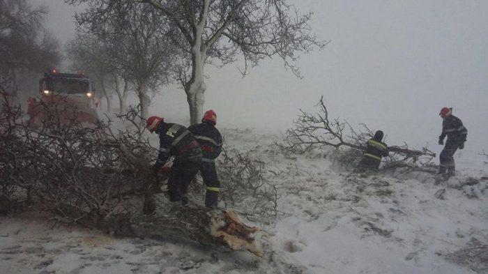 Trafic rutier blocat între județele Suceava și Maramureș din cauza copacilor căzuți.Pe Mestecăniș un TIR a derapat în afara părții carosabile