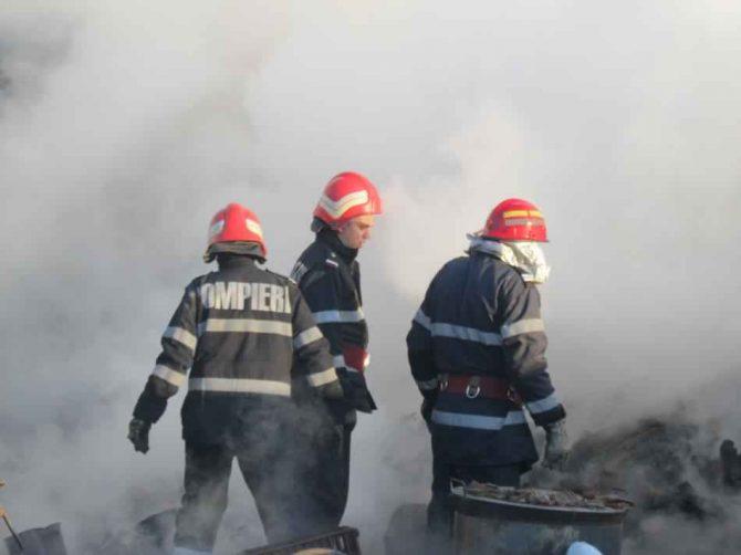 Incendiu la o hală de debitare a lemnului din Şaru Dornei