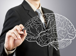 Business man drawing human brain diagram